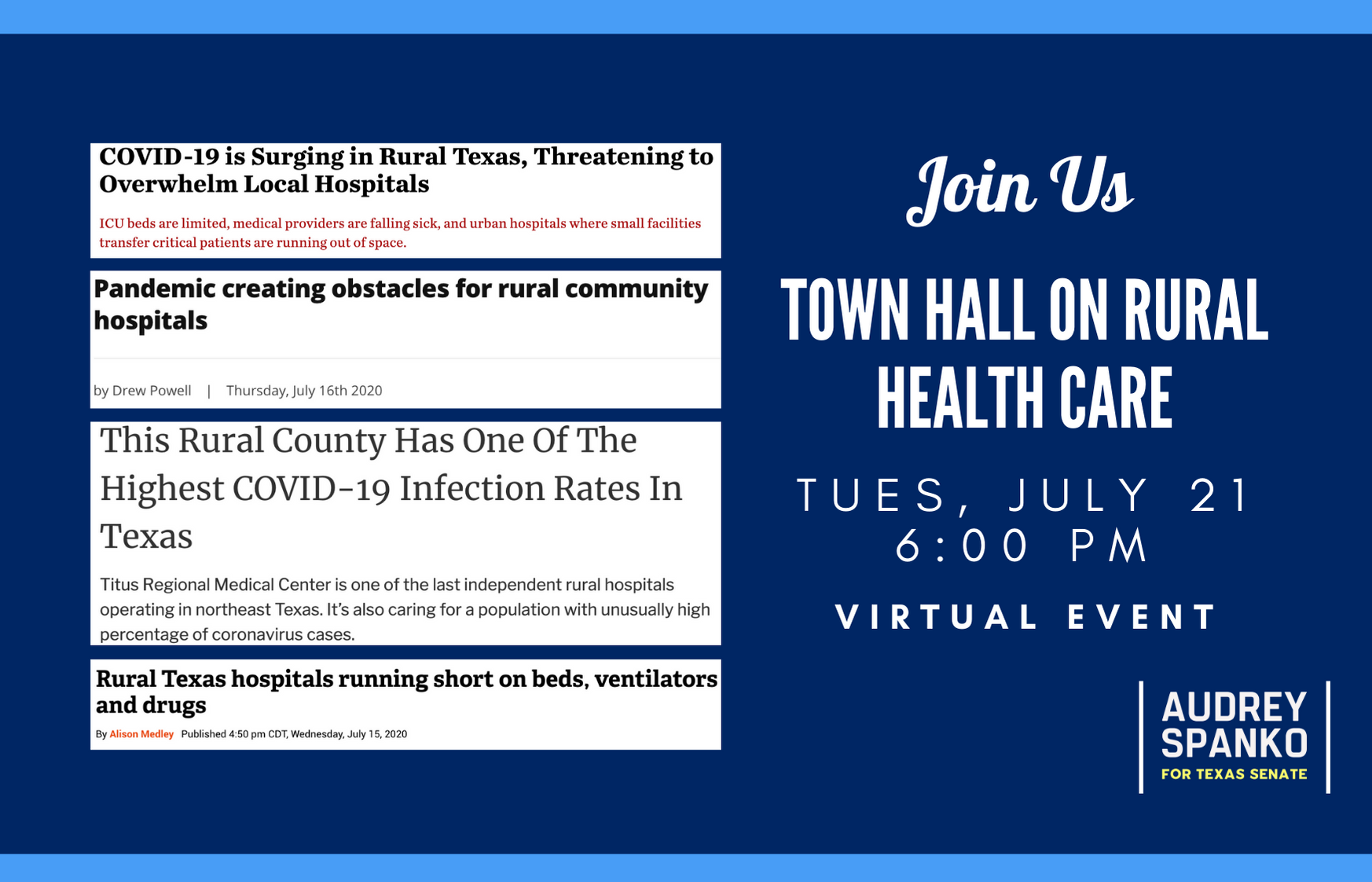 Town Hall On Rural Health Care Audrey Spanko For Texas Senate Spanko.net at press about us. mobilize us